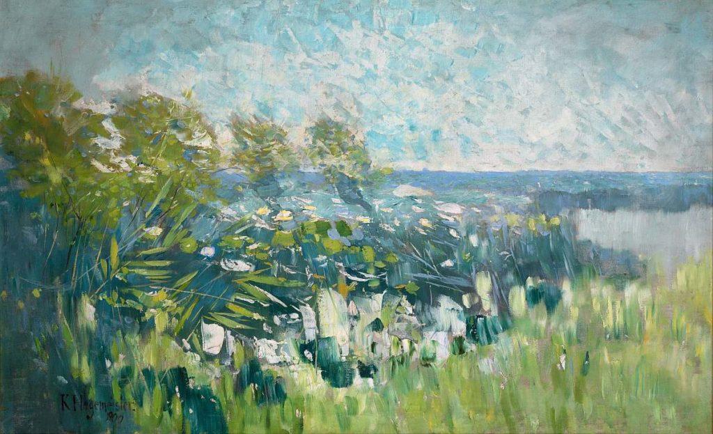 Karl Hagemeister: Uferlandschaft [Schilfufer], 1900, Öl auf Leinwand, Potsdam Museum - Forum für Kunst und Geschichte. Repro: Michael Lüder
